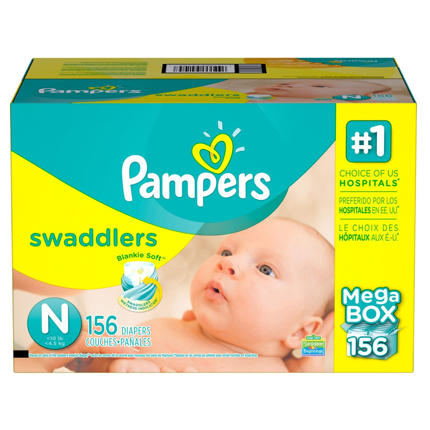 Amazon.com : Pampers Swaddlers Diapers (Size N, 156 ct.) : Baby