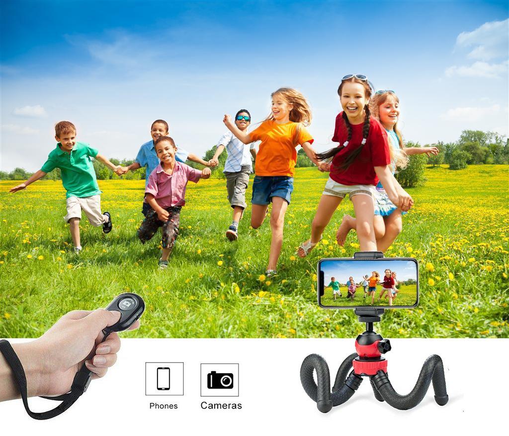 ZIMAIC Handy Stativ, Smartphone Stativ, Kamera Ständer, Flexibel Leicht Tripod mit Bluetooth Fernbedienung,Telefonhalterung Accessory, Kamera Accessory, Für Eine Vielzahl von Smartphone, Sport Kamera