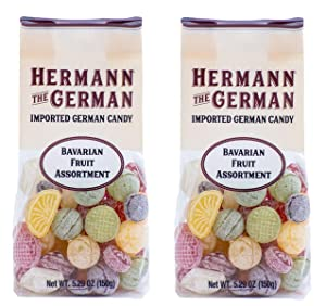 Hermann the German Hard Candy - Imported - Pack of 2 (Bavarian Fruit Candy Assortment)