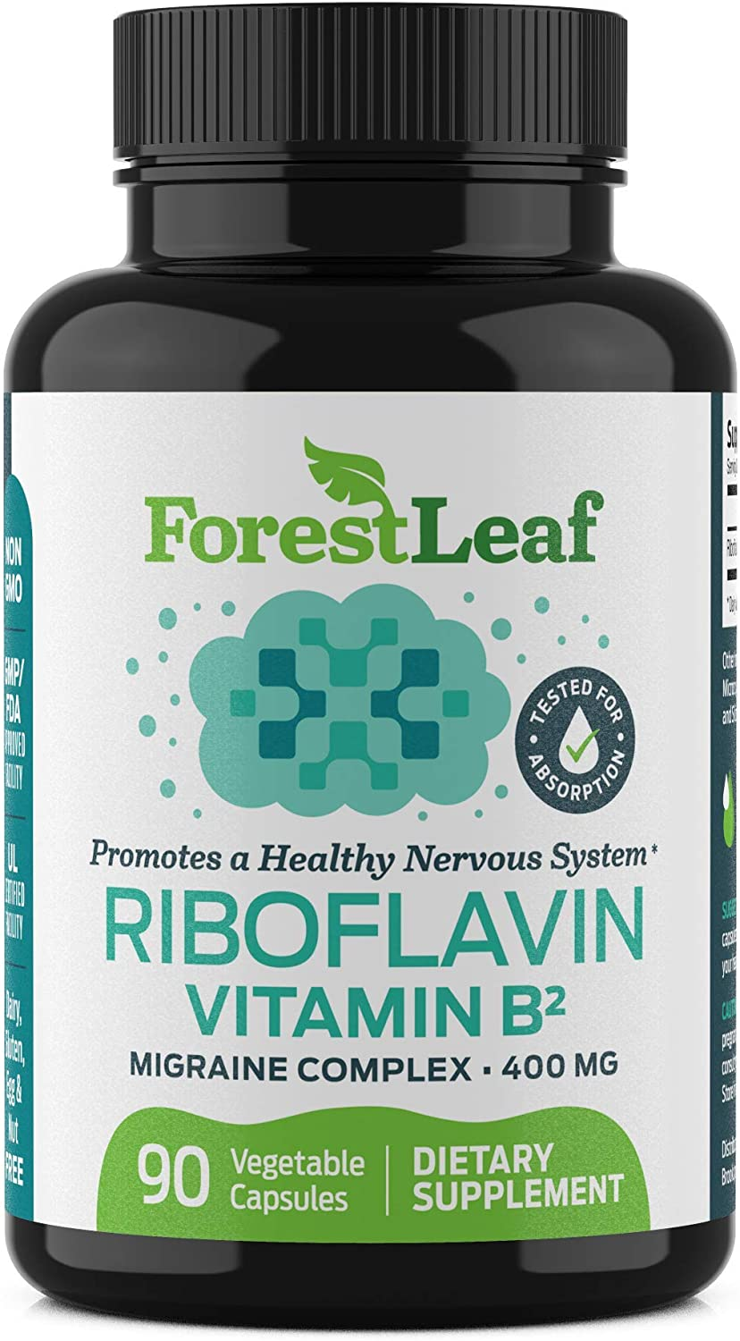 Vitamin B2 Riboflavin, 400mg - 90 Capsules - Promotes Healthier Blood, Nervous System, Energy and Metabolism – Non-GMO, Gluten Free Daily Dietary Supplement – by ForestLeaf