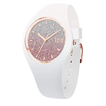 photos officielles e06a0 b6d95 Ice-Watch - Ice lo White Pink - Montre Blanche pour Femme avec Bracelet en  Silicone