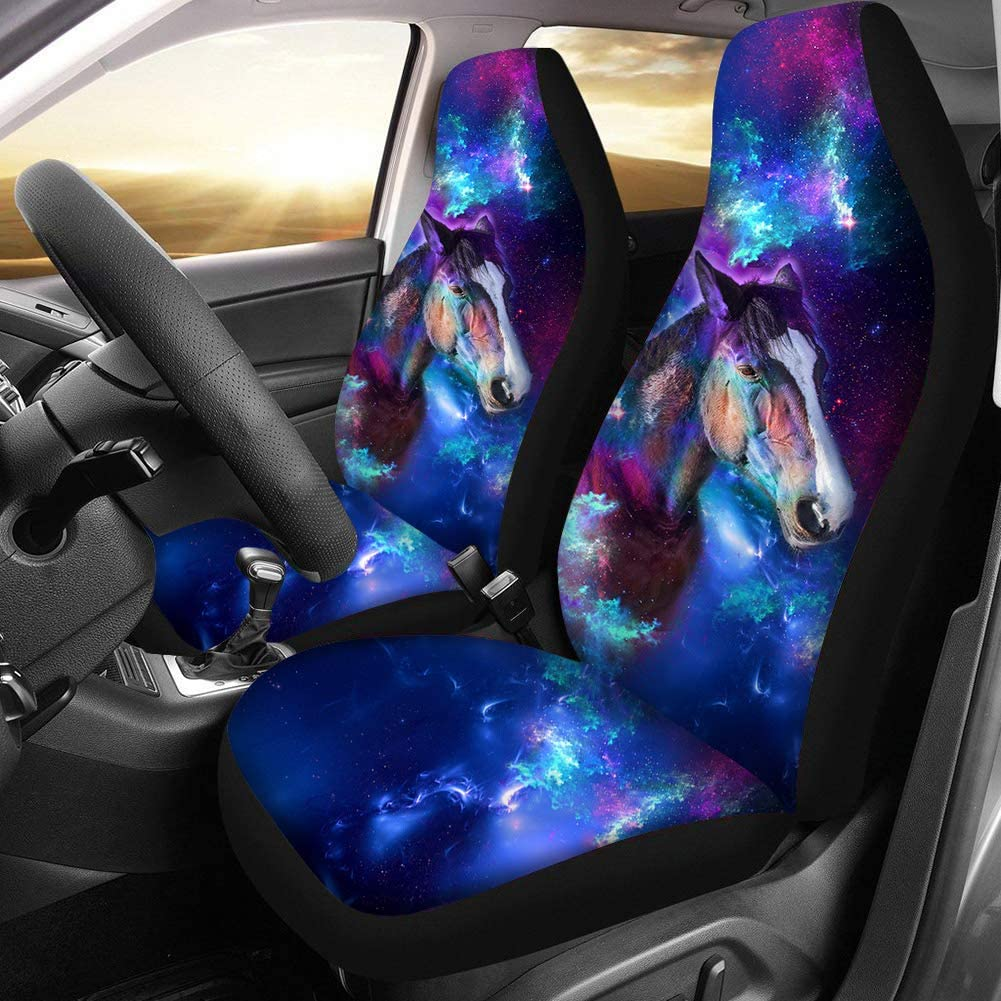BIGCARJOB Saddle Blanket Car Seat Cover Front Seats Only Blue Wolf Print Universal Bucket Seat Cover 2piece Set
