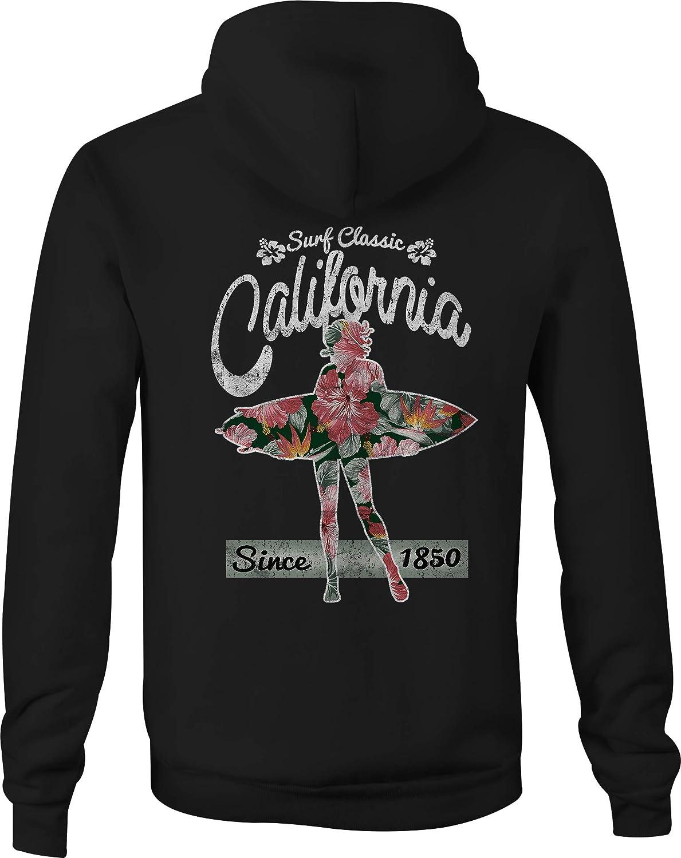 Cali Zip Up Hoodie Surf Flowers Hooded Sweatshirt for Men