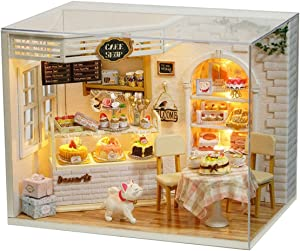 CUTEBEE Dollhouse Miniature with Furniture, DIY Dollhouse Kit Plus Dust Proof and Music Movement, 1:24 Scale Creative Room Idea(Cake Diary)