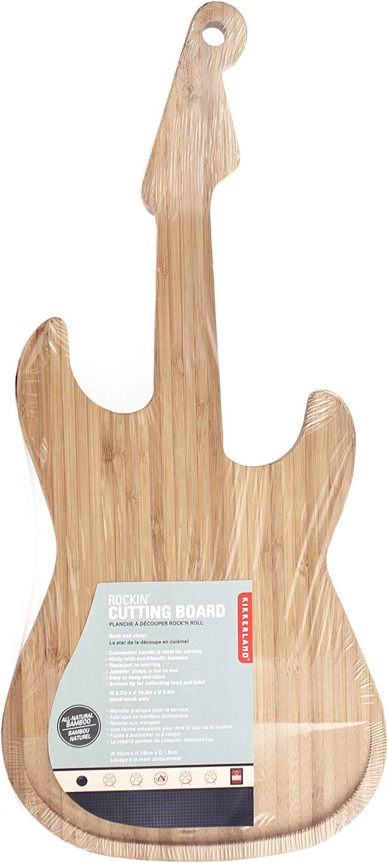 Kikkerland Bamboo Guitar Cutting Board, Beige