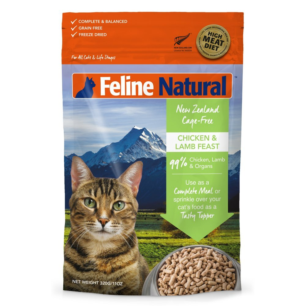 Freeze Dried Cat Food By Feline Natural - Perfect Grain Free, Healthy, Hypoallergenic Limited Ingredients For All Cats - Raw, Freeze Dried Mixer - 11oz Pack (Chicken & Lamb)
