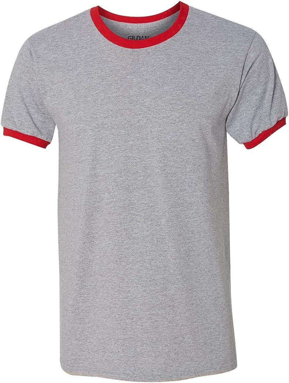 G860 -SPORT GREY -S-12PK Ringer T-Shirt Gildan Mens Gildan DryBlend 5.6 oz