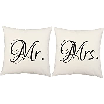 Amazon Set Of Two Mr And Mrs Throw Pillows 40x40 Inch Square Custom Mr And Mrs Decorative Pillows