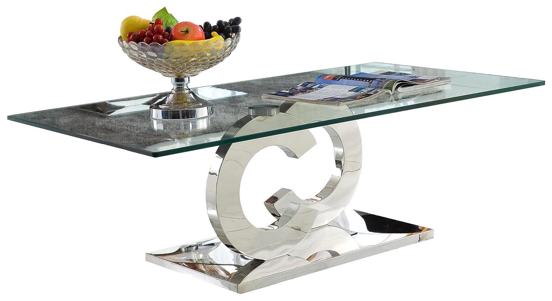 Couchtisch Chrom Glas ~ Derrys cc modernes chrom glas top couchtisch glas silber: amazon