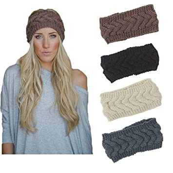 4 Pack Knit Headbands Winter Braided Headband Ear Warmer Crochet Head Wraps  for Women Girls H7 9e828c935ee4