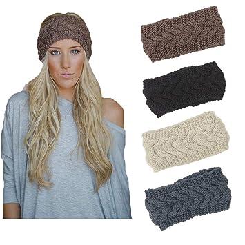4 Pack Knit Headbands Winter Braided Headband Ear Warmer Crochet Head Wraps  for Women Girls H7 1499cd7fe4d