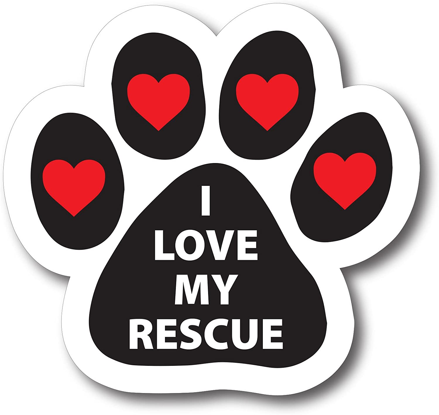 Magnet Me Up I Love My Rescue Pawprint Car Magnet Paw Print Auto Truck Decal Magnet