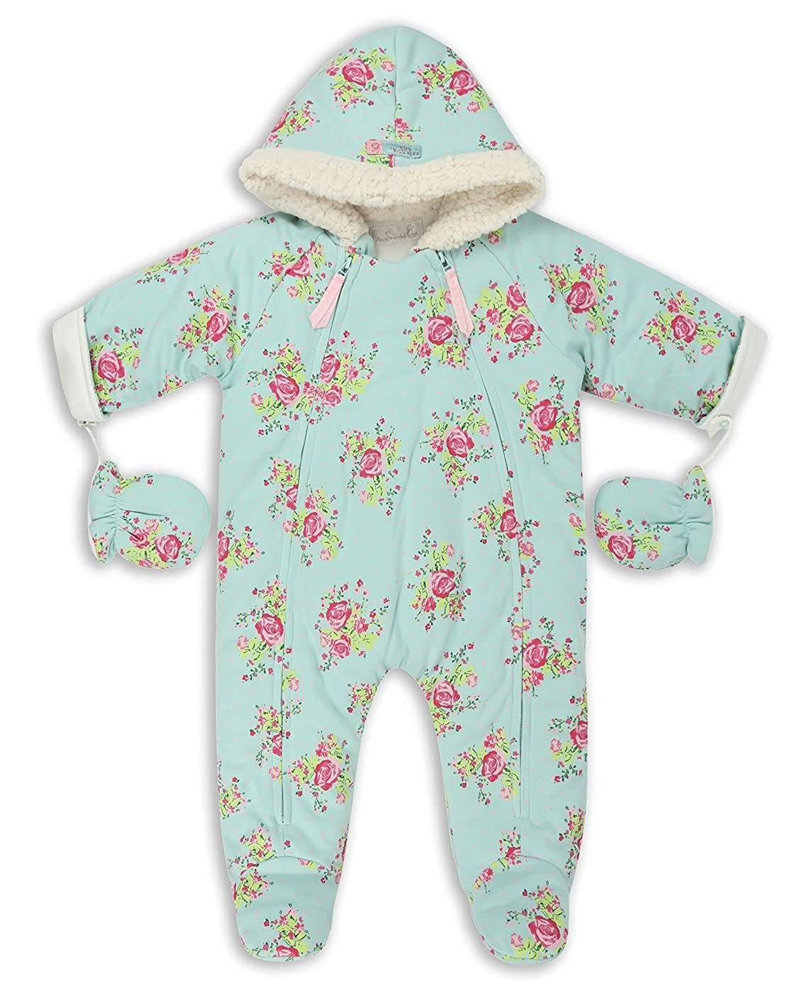 The Essential One - Baby Girls Vintage Floral Jersey Pramsuit - Mint - EO261