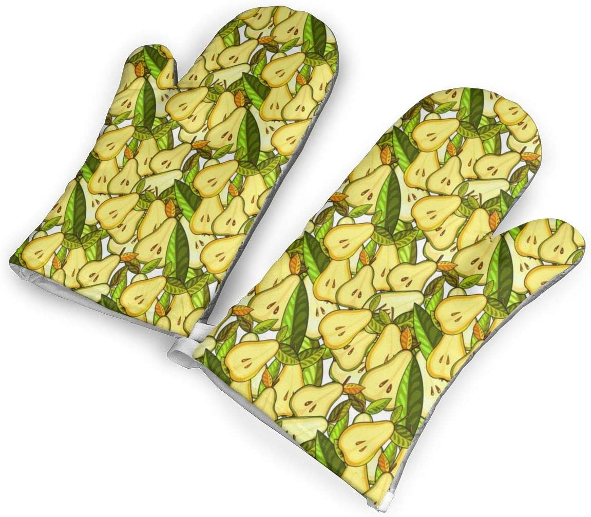 Victoria-Ai Yellow Pears Green Leaves Oven Mitts Premium Heat Resistant Kitchen Gloves Non-Slip Easy to Use Baking Mittens for BBQ/Cooking/Grilling