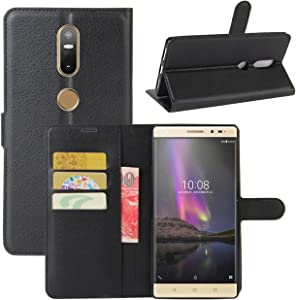 Lenovo Phab 2 Plus Case, Fettion Premium PU Leather Wallet Flip Phone Protective Case Cover with Card Slots, Stand Feature and Magnetic Closure for Lenovo Phab 2 Plus Smartphone (Wallet - Black)