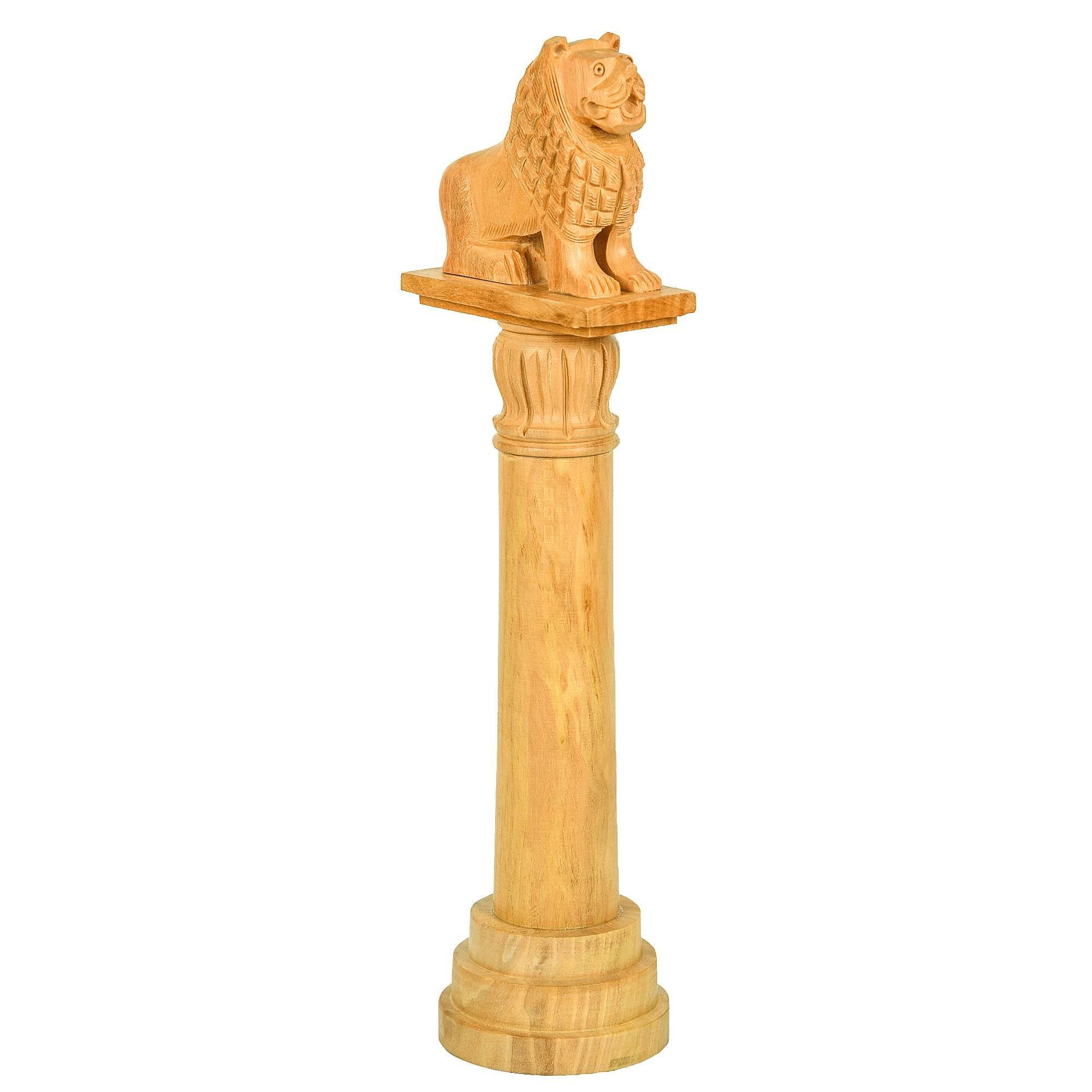 Fine Craft India Handicraft Wood Vaishali Lion Pillar Stambha Height: 12inch Color Light Brown