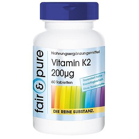 Vitamina K2 200 µg - Menaquinona MK-7-60 comprimidos vegetarianas - Sustancia pura