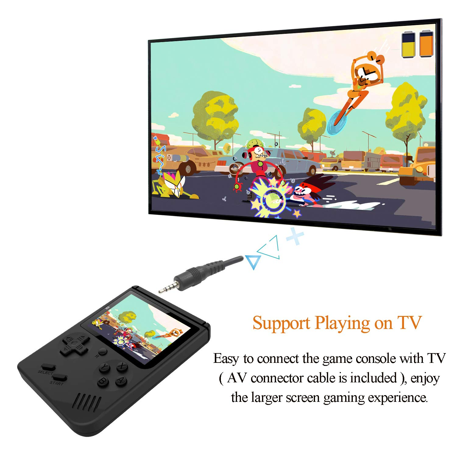 Handheld Games Console for Kids Adults - Retro Video Games Consoles 3 inch Screen 168 Classic Games 8 Bit Game Player with AV Cable Can Play on TV (Black) by Chilartalent (Image #4)