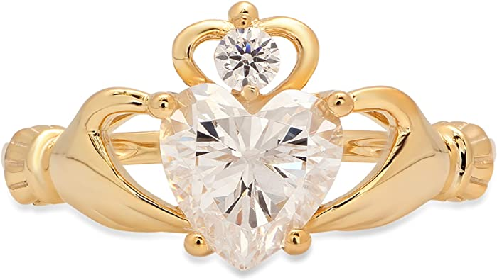Size 7 Ladies 14K Gold Yellow CZ Gemstone Celtic Claddagh Heart in Hands Ring