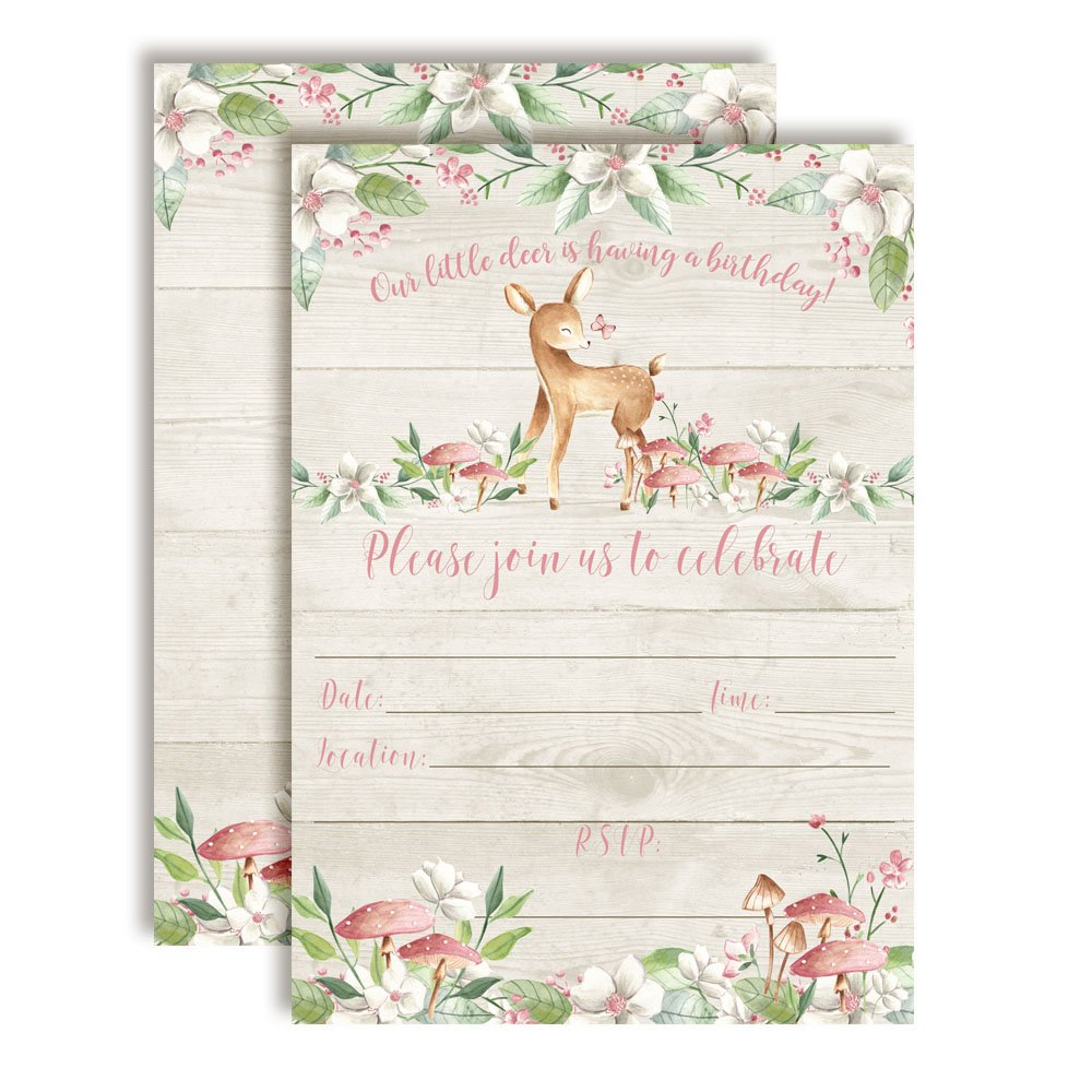 Little Deer Woodland Birthday Party Invitations for Girls 20 5''x7'' Fill in Cards with Twenty White Envelopes by AmandaCreation