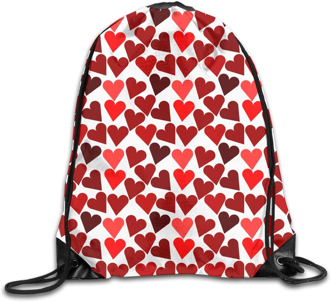 CoolStuff Travel Shoe Bags,Heart Pattern Red Drawstring Backpack Hiking Climbing Gym Bag,Large Big Durable Reusable Polyester Footwear Protection