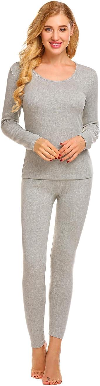 Ekouaer Womens 2-Piece Pajama Long Thermal Underwear Fleece Lined Winter Base Layering Set S-XXXL