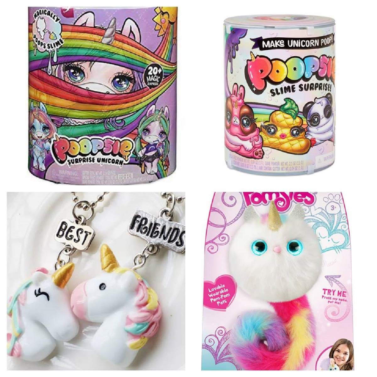 Poopsie Slime Surprise Unicorn, 1 Small Slime, 1 Pair Unicorn Frienship Necklace and 1 Pomsies Luna Unicorn