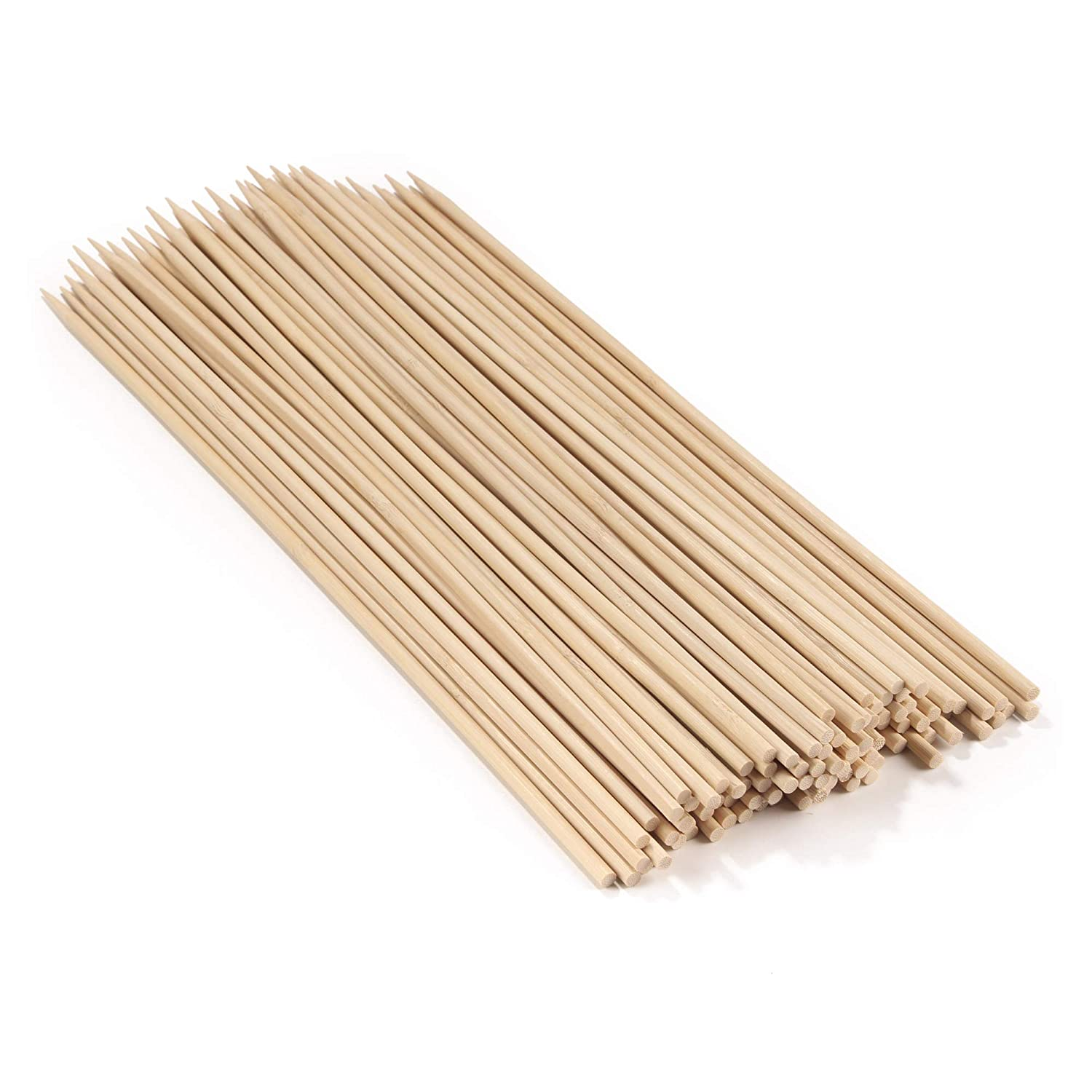 BambooMN 18 Long x 5mm Thick Sharp Point Bamboo Kabab Satay BBQ Skewers Party Supplies 300 Pieces 6955114903409a