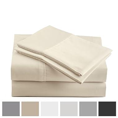 Peru Pima - 415 Thread Count - 100% Peruvian Pima Cotton - Percale - Bed Sheet Set (Queen, Ivory)