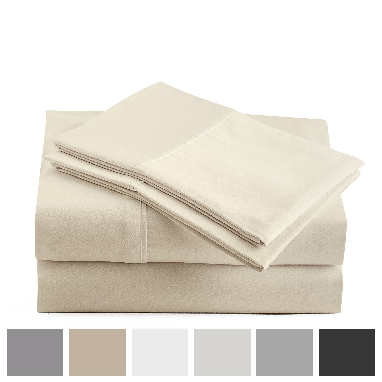 Peru Pima 415 Thread Count - 100% Peruvian Pima Cotton - Percale - Bed Sheet Set (King, Ivory) by Peru Pima