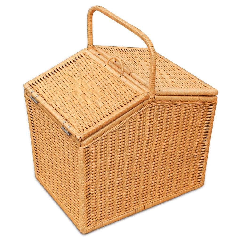 Tragbarer Korb für Picknickkorb-Rattan-Aufbewahrungskorb (Farbe   A)