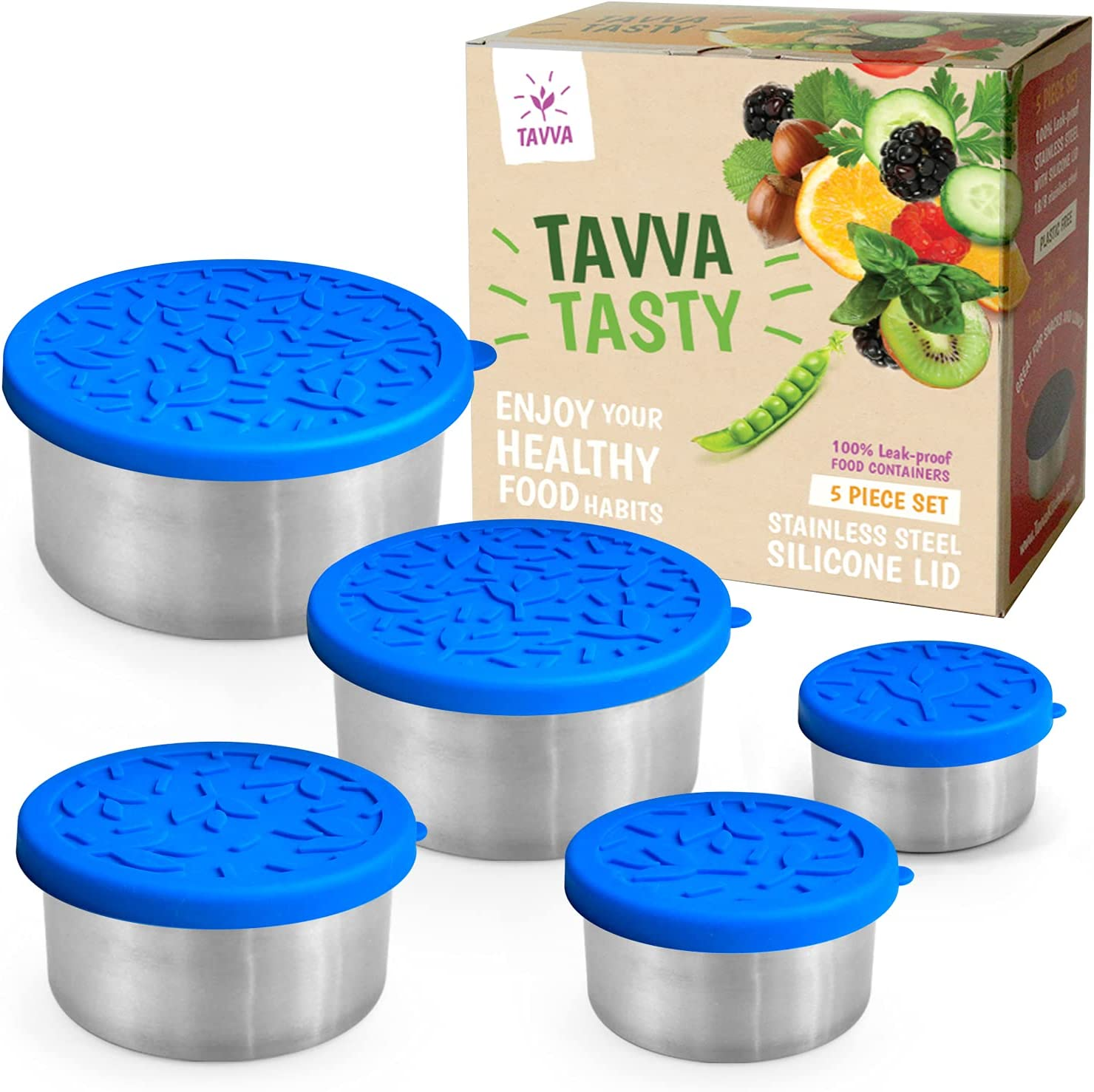 TAVVA Stainless Steel Food Storage Containers - Plastic Free | Silicone Lids | Leakproof Toddler Lunch Box – Also Suitable as Kids Lunch Box and to Go Containers [Set of 5]