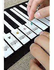 Adesivi per pianoforte, adesivi per pianoforte Adesivi per pianoforte rimovibili trasparenti Adesivi per note nero bianco per tasti 36/49/54/61/88