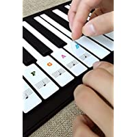 Piano Key Stickers, Learn Piano Stickers Transparent Removable Piano Keyboard Note Stickers Black White for 36/49/54/61/88 keys