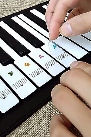 Piano etiquetas clave, obtener etiquetas transparentes de piano de piano teclado extraíble Nota pegatinas Negro Blanco para 36/49/54/61/88 teclas: ...