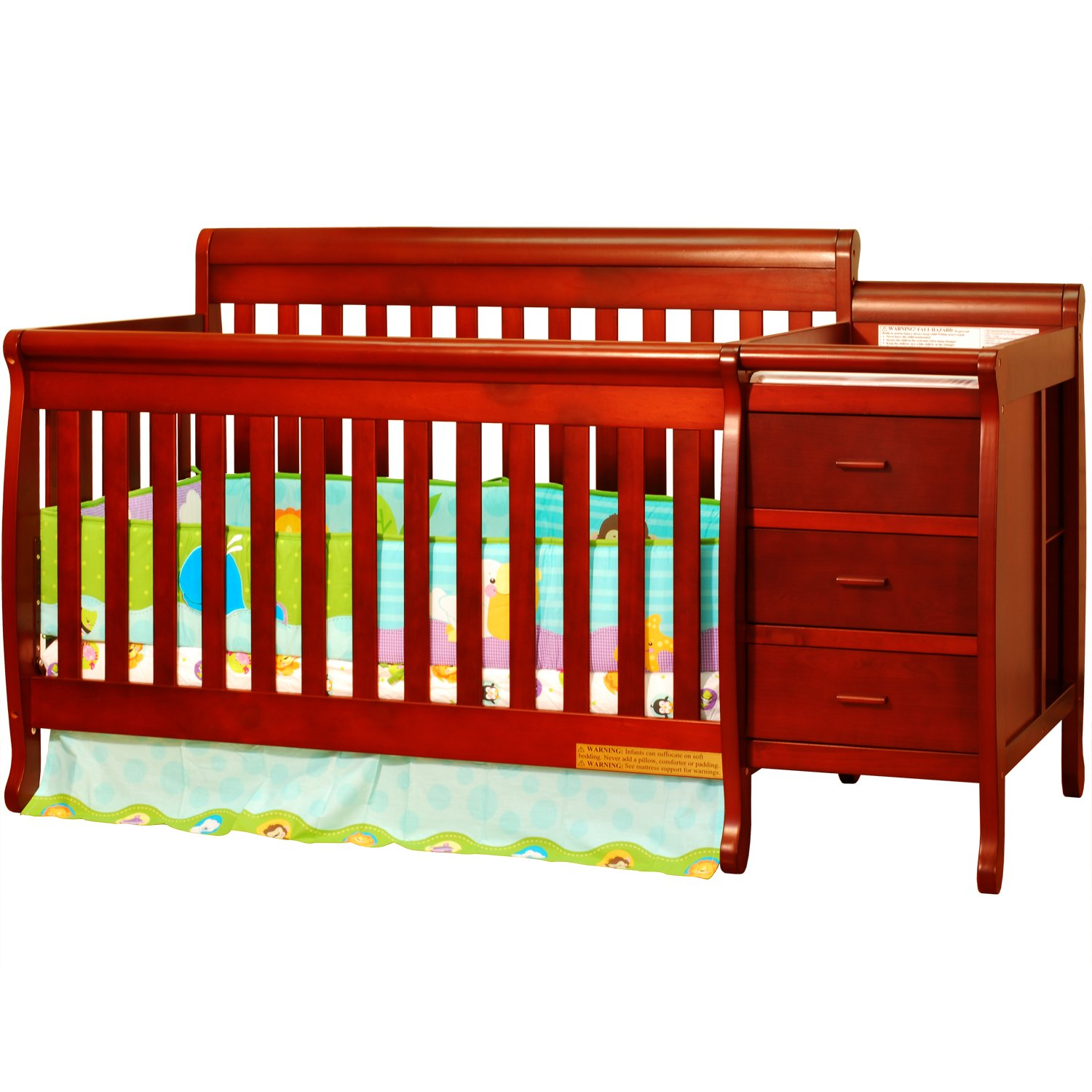 Amazon.com : MPN: 516C Athena Kimberly 3 In 1 Crib And Changer With Toddler  Rail, Cherry [Baby Product] : Changing Tables : Baby