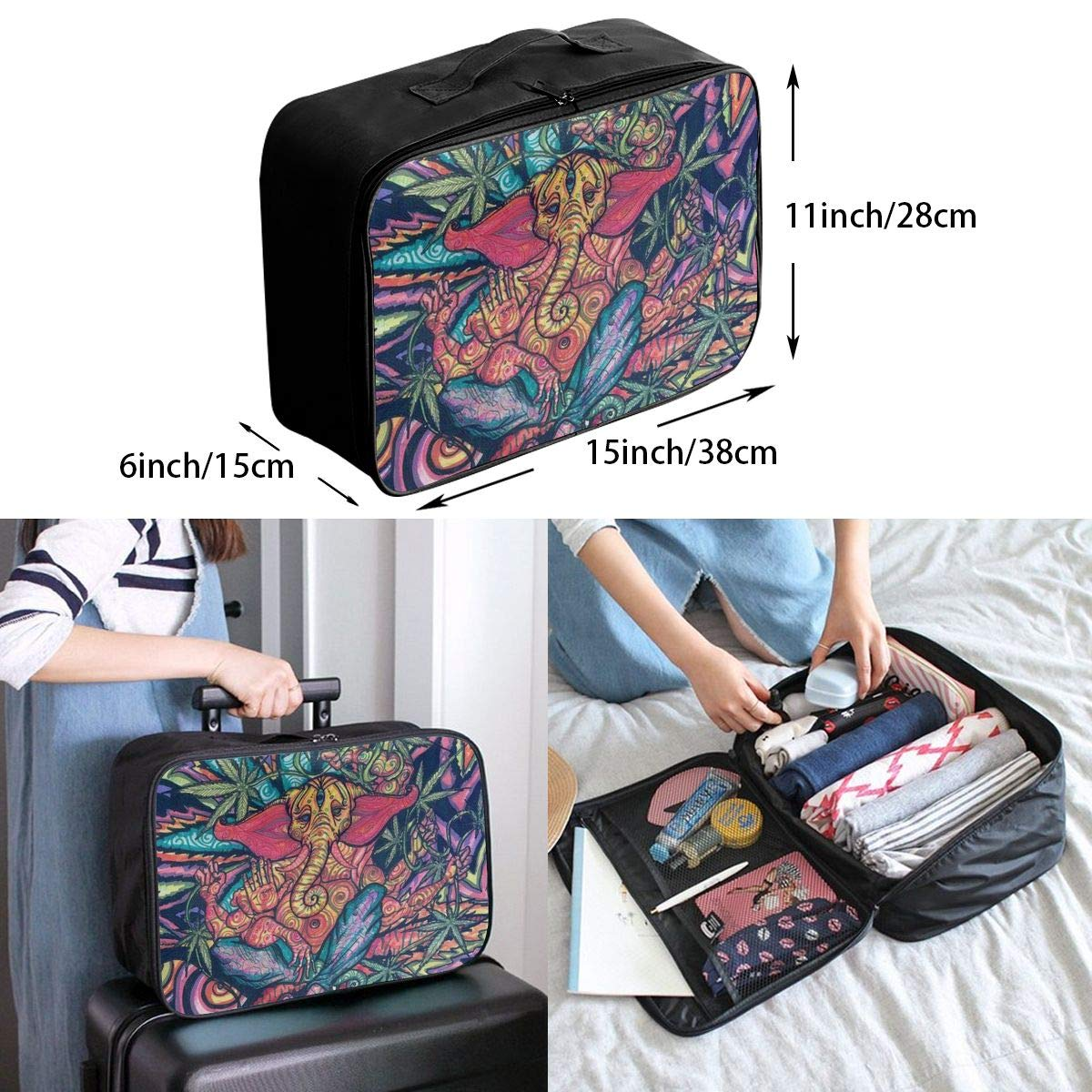 Trippy Multi Color Marijuana Leaf Weed Art Travel Fashion Lightweight Large Capacity Duffel Portable Waterproof Foldable Storage Carry Luggage Tote Bag