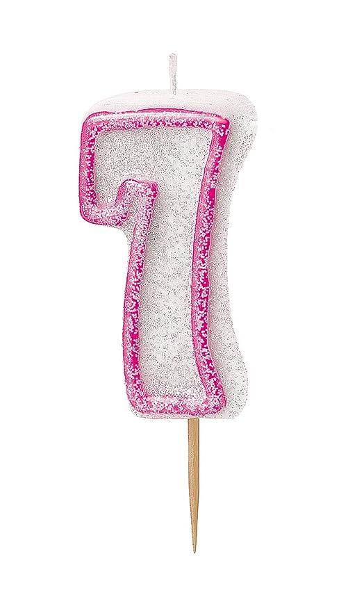 Unique Party- Vela de cumpleaños número 7, Color rosa brillante (37917)
