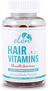 ELON – Chewable Gummy Hair, Skin & Nail Vitamins – 60 Count – Professionally Formulated to Support Strong & Healthy Hair – Advanced Biotin Formula Designed for All Hair Types