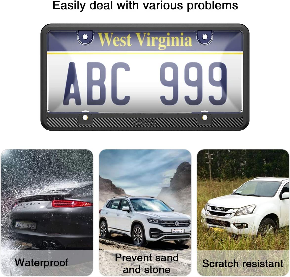 Dracool for License Plate Frame 4 Holes Silicone Frames for US Standard Car and Clear Transparent Plastic Covers 360 Degree Unbreakable Plates Holder Waterproof,Rust-Proof 4 Screws Included Black