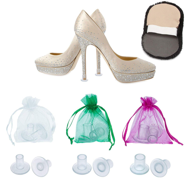 Bouchons Protège-Talons Hauts pour Femmes par MEGON – 6 paires: petit, moyen, grand pour toutes les tailles – Idéal: mariage, shopping ou événement – Protège contre: herbe, gravier, pavés et fissures
