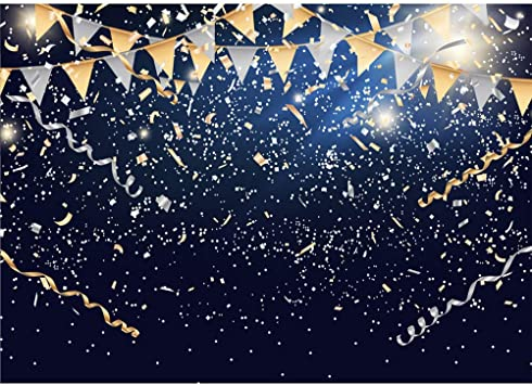 Amazon Com Vinyl Birthday Backdrop Navy Blue 7x5 Gold And Silver Party Banner Customized 40th 50th 60th Birthday Backgrounds For Adult Gold Sequins Backdrops Customized Camera Photo