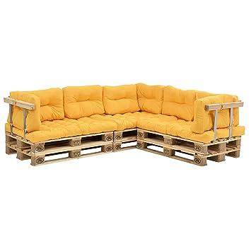 [en.casa]®] Set de 11 Cojines para sofá-palé - cojín de Asiento + Cojines de Respaldo Acolchados [Mostaza] para europalé In/Outdoor
