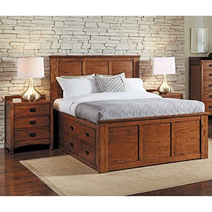 Amazon Com Simply Solid Aira Oak Wood Storage Bed King Kitchen