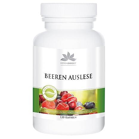 Selección de bayas de herbadirekt con espirulina – Frutas – 120 comprimidos