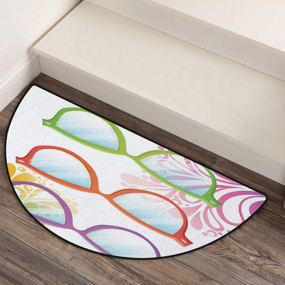 36 x 72 Half Round Door Mat,Skull Artistic Design Backdrop with Minimalistic Features Abstract Display Outdoor//Indoor Entry Rug,for Home Kitchen Office Standing Desk Mats,Charcoal Grey White