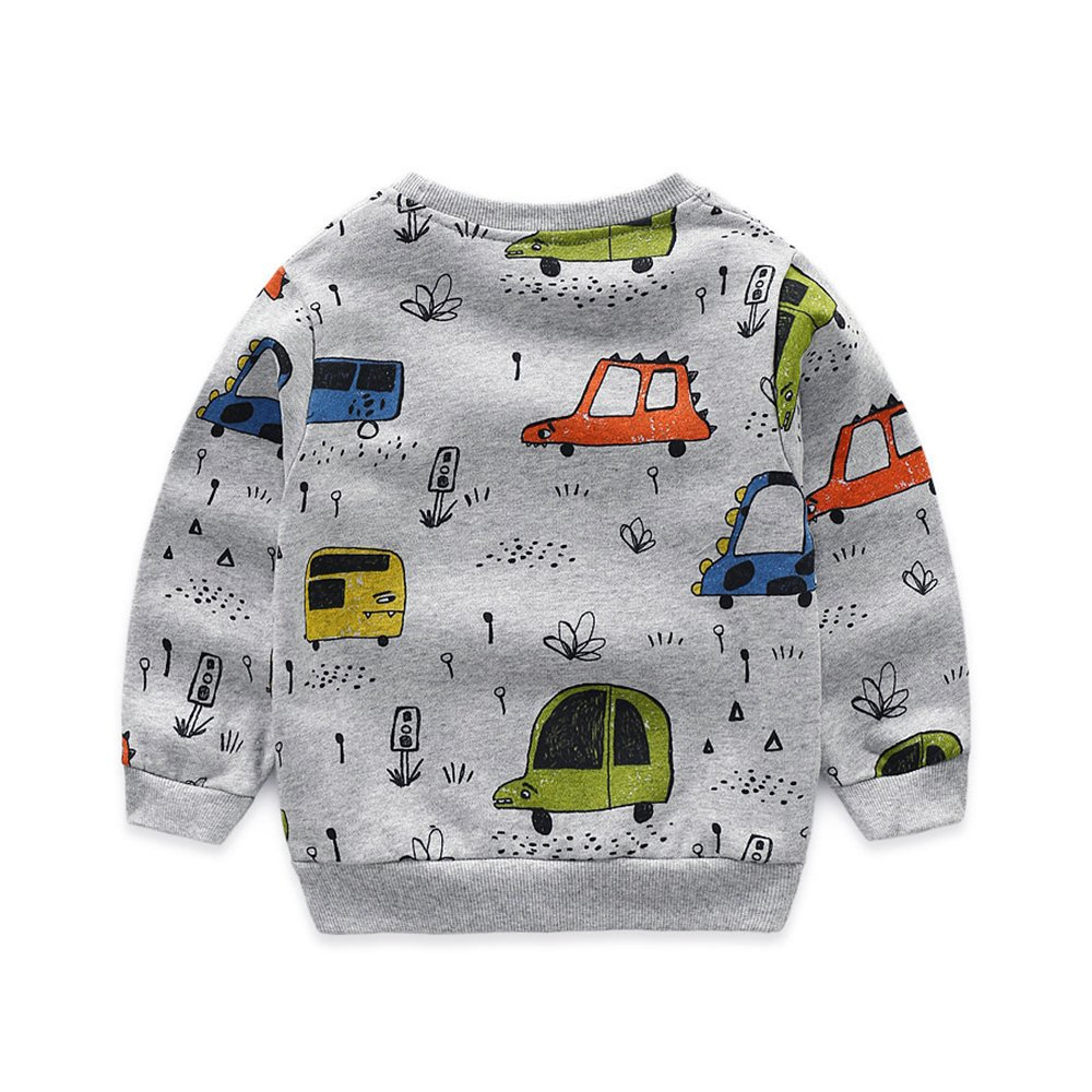 NWAD Boys Car Sweatshirts Light Weight Little Boy Clothes Organic Cotton Crewneck Clothing Long Sleeve Tops (Car Grey, M(5)) by NWAD (Image #3)