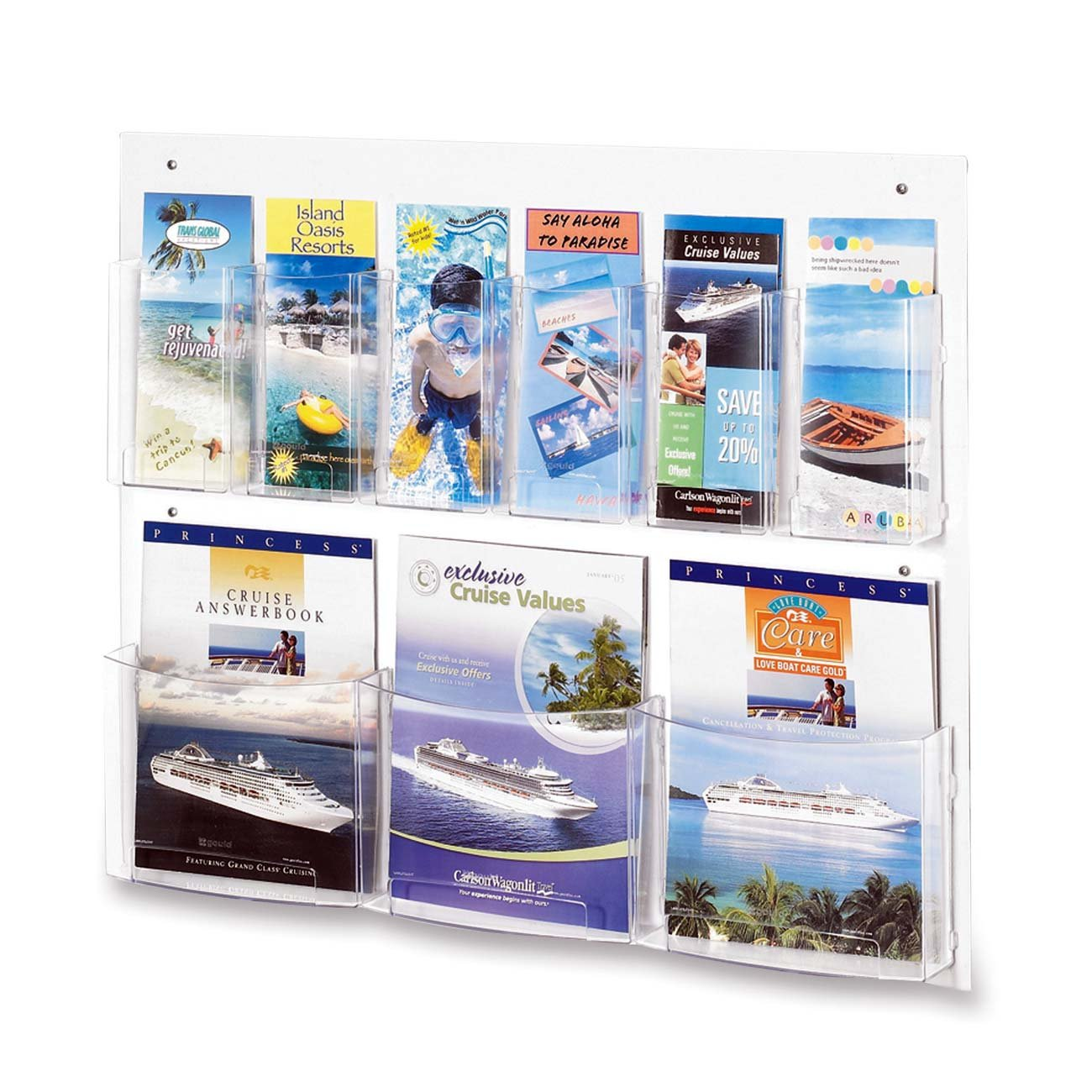 Safco Products 5666CL Clear2c Literature Display, 3 Magazine and 6 Pamphlet, Clear