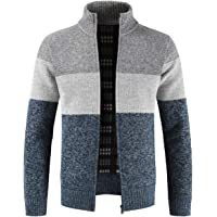 7c1d718b55 Mens Knitted Cardigan Sweater Chunky Knit Jacket with Full Zip Front  Closure Funnel Neck Long Sleeve