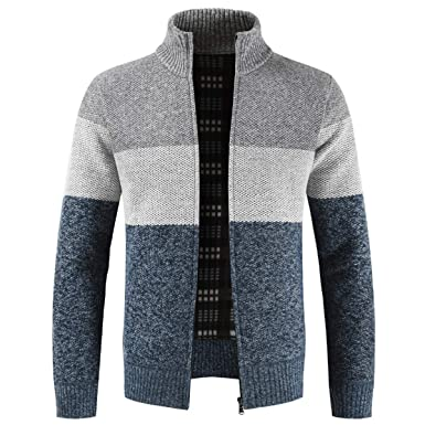 05e1ee410 Mens Knitted Cardigan Sweater Chunky Knit Jacket with Full Zip Front ...